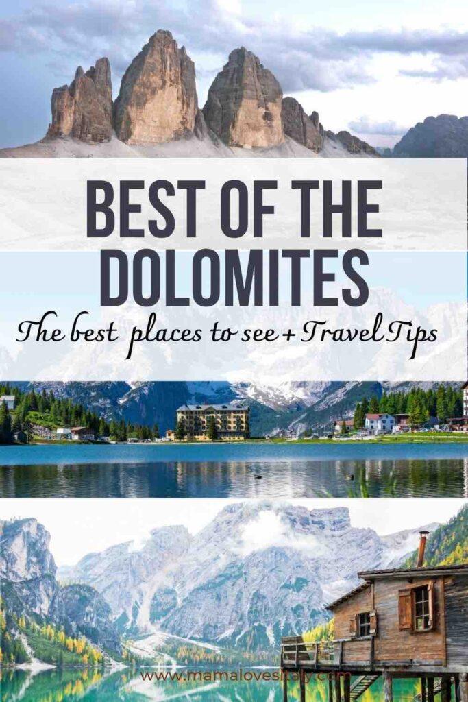 """Trys geriausių vietų Dolomituose nuotraukos (Tre Cime, Misurina ežeras ir Braies ežeras) su tekstu"""" Geriausia iš Dolomitų, geriausios vietos pamatyti + kelionės patarimai"""